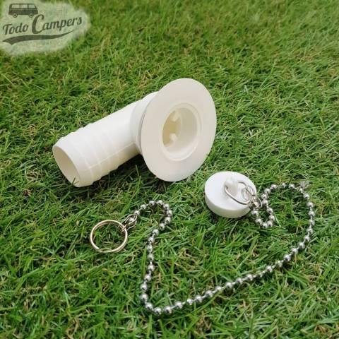 Desagüe en codo - Salida 25 mm, Tipo B - con tapón de agua a un lado y cadena
