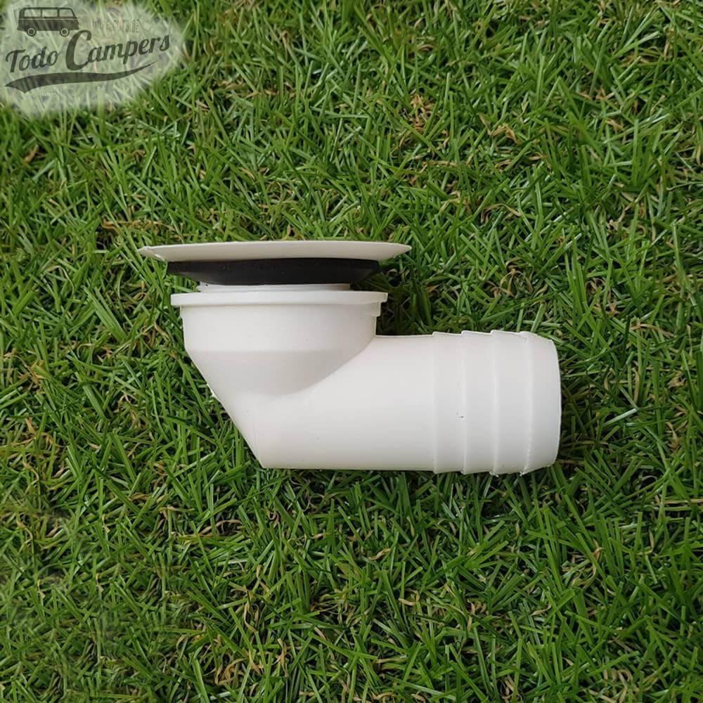 Desagüe en codo - Salida 25 mm, Tipo B - Vista Lateral