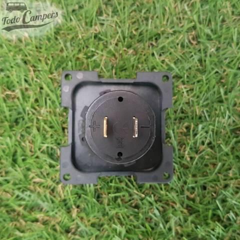 Toma USB doble con tapa y marco embellecedor - Color gris oscuro - Vision trasera