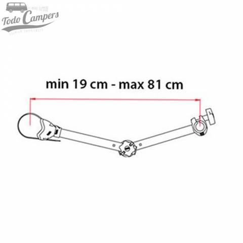 Medidas del brazo Bike Block Pro S D3 - Fiamma. Portabicicletas para furgonetas, autocaravanas o caravanas