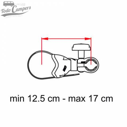 Medidas del brazo Bike Block Pro S1 de marca Fiamma. Portabicicletas para furgoneta, autocaravana o caravana