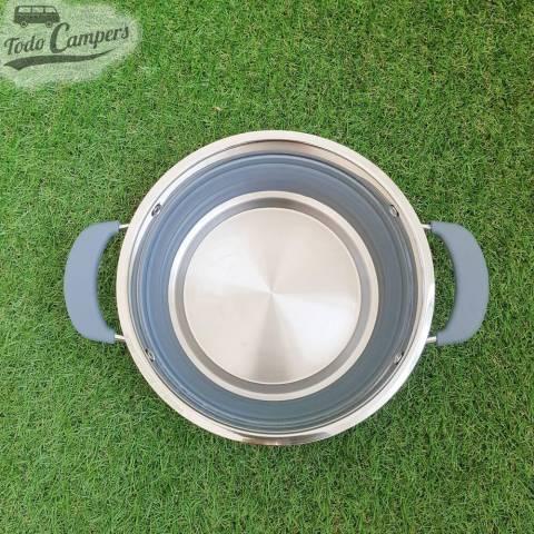 Olla plegable gris de 1,5 litros perfecta para cocinar en la furgoneta