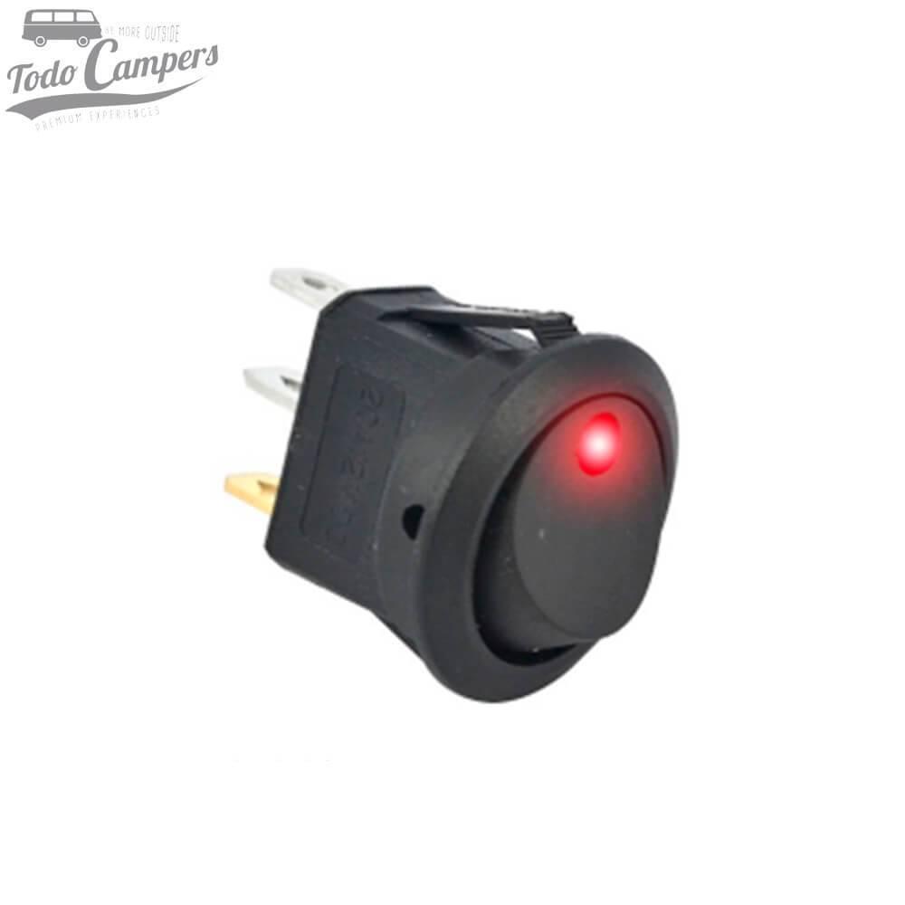 Interruptor unipolar 12V led Rojo