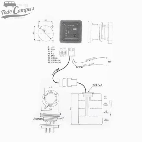 Medidas y funcionamiento del Panel indicador LED aguas grises con sonda - CBE
