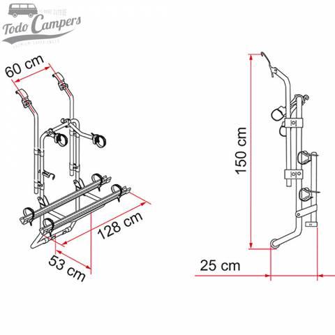 Medidas del portabicicletas para Ford Transit 2000-2013 de 2 bicis