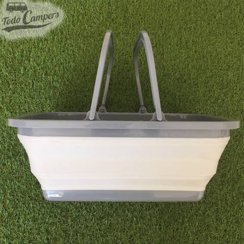 Cesto plegable gris con asa - Tamaño XL perfecto para transportar en su vehículo