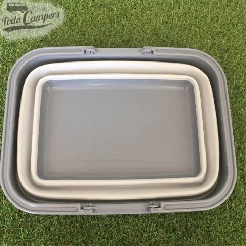Cesto plegable gris con asa - Tamaño XL perfecto para guardar en su furgoneta, caravana o autocaravana
