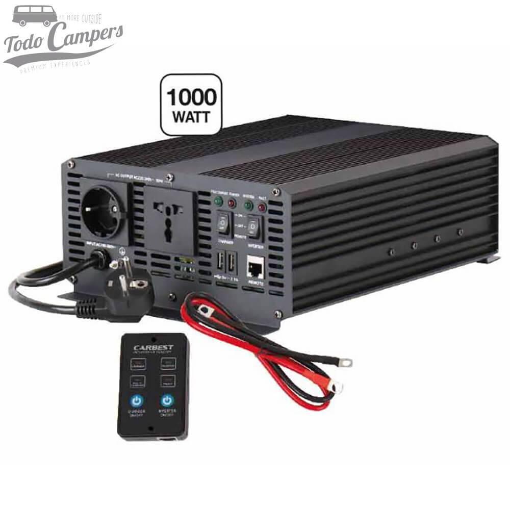 Inversor Cargador 12V a 230V de 1000W - Onda Pura y Prioridad Red CARBEST