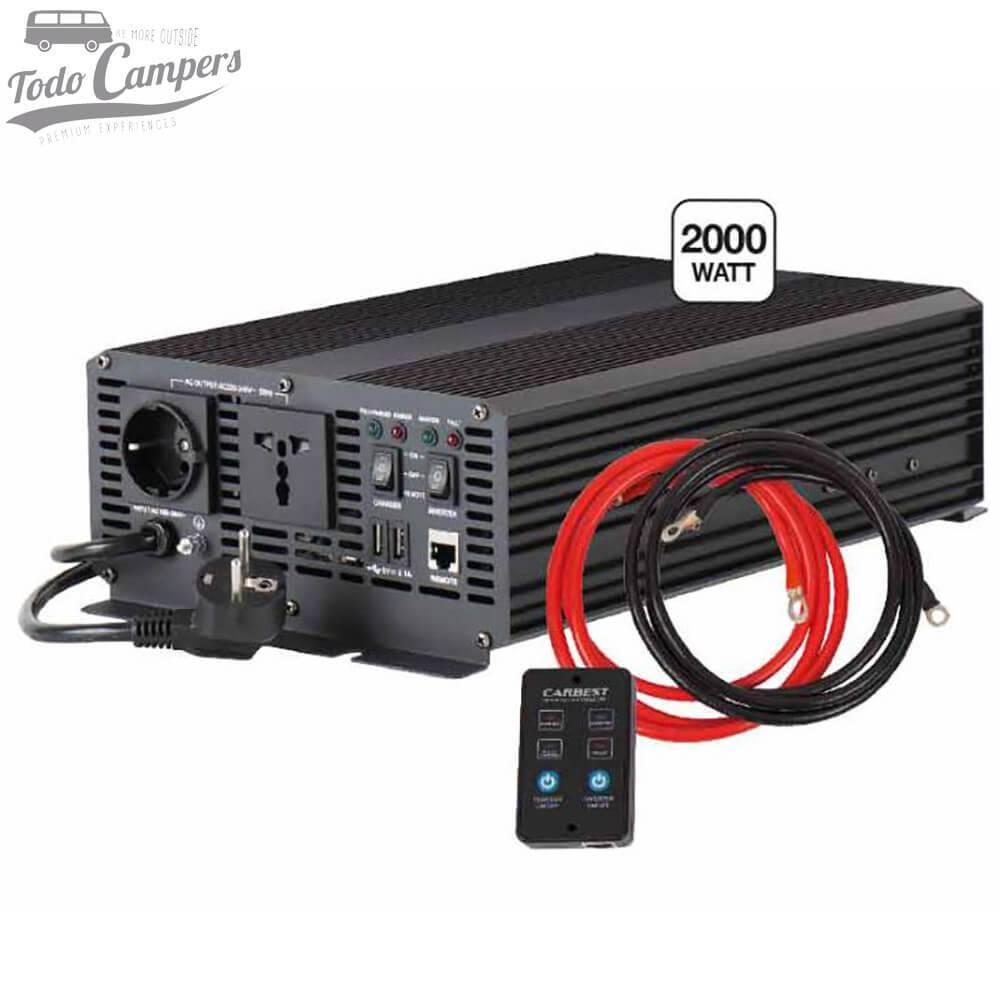 Inversor Cargador 12V a 230V de 2000W - Onda Pura y Prioridad Red CARBEST