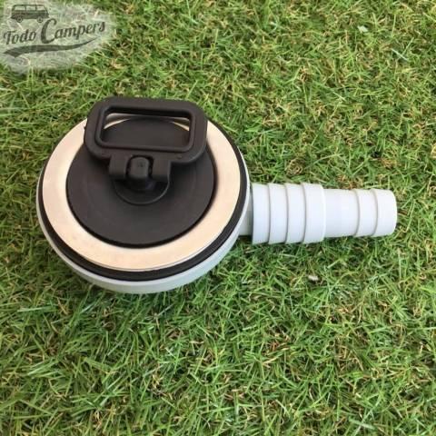 Desagüe en codo - Salida 19 mm ó 25mm, Tipo E, tapón puesto