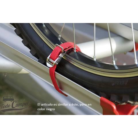 Cinchas con hebilla en acero inoxidable para sujetar bicis en todos los tipos de portabicicletas.