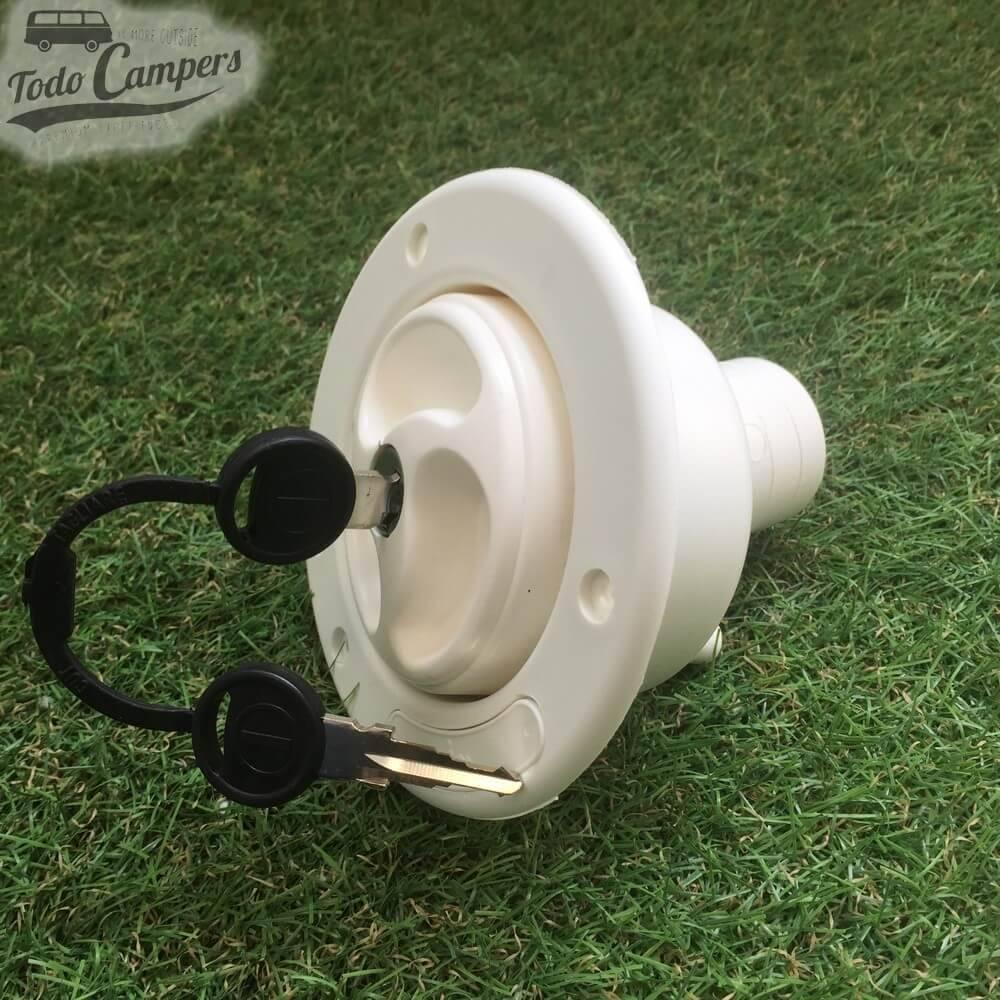 Bocana de agua con tapón (con llave) - Color Blanco