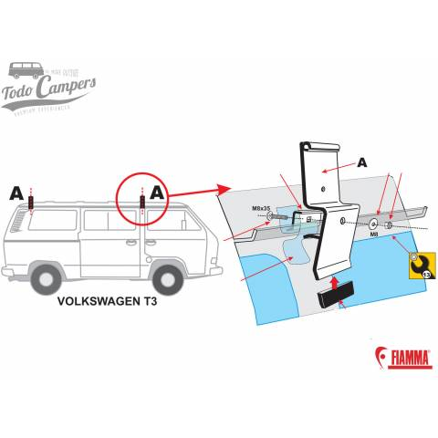 Instrucciones para colocar un Soporte Fiamma F35 Pro para Volkswagen T3