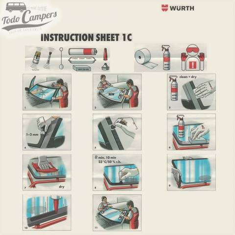 Pegamento de lunas Wurth Classic Expert - Instrucciones de montaje