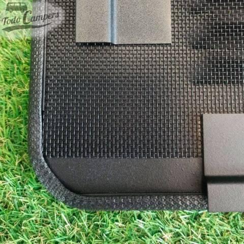 Rejilla de ventilación fabricada en aluminio negro para ventanas de furgonetas T5 y T6
