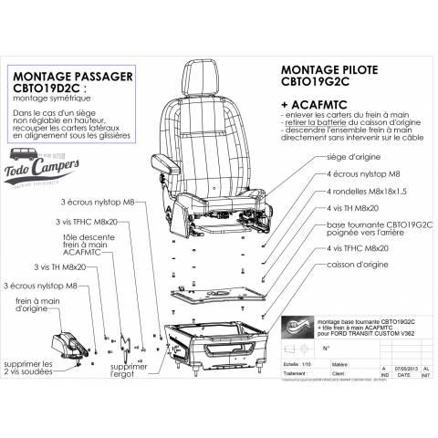 instrucciones de montaje base giratoria ford custom y ford transit van