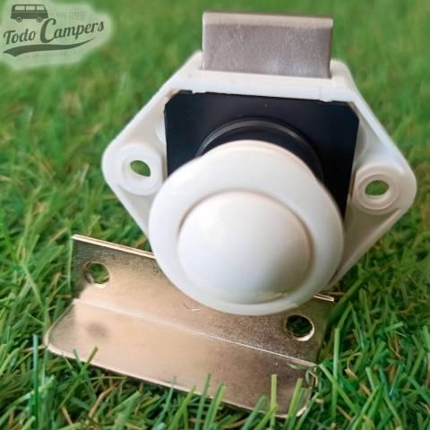 Cierre blanco de pulsador MINI para puertas y cajones 19mm