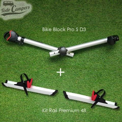 Kit de ampliación de 3 a 4 bicicletas (Kit Rail Premium 48 y Brazo Block Pro S D3) - Negro