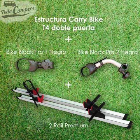 El Portabicicletas viene de serie con dos carriles Rail Premium y con los brazos Bike Block Pro 1 y Bike Block Pro 2.