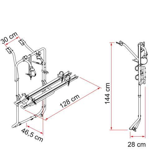 Medidas del portabicicletas Fiamma Carry Bike para Volkswagen T5 Y T6 con doble puerta trasera