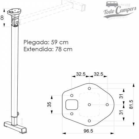 medidas de la pata plegable y extensible con pie ancho para Mesa Abatible