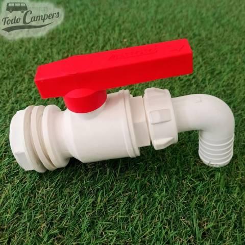 Grifo de drenaje con salida acodada de 30 mm